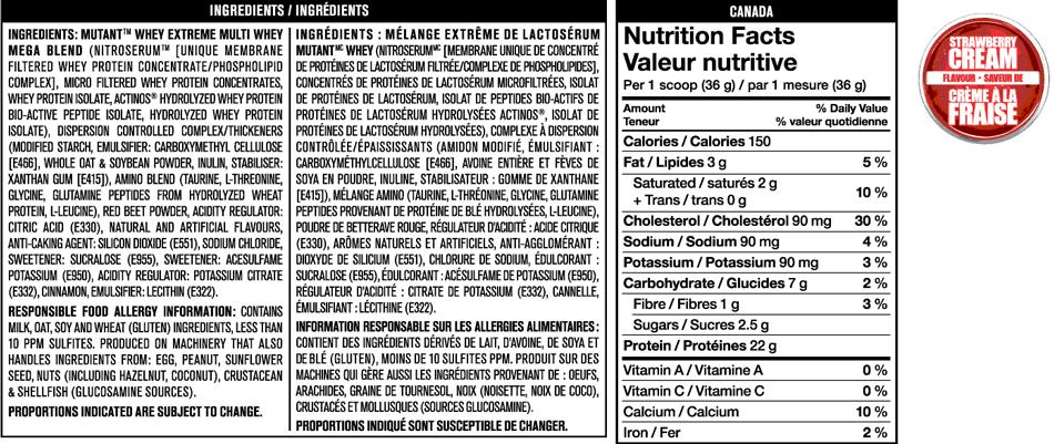 mutant whey nutrition